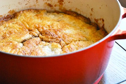 Recipe and images of Fresh Peach Cobbler by Lacey Stevens-Baier, a sweet pea chef