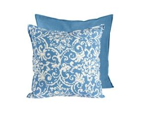 Blue and White Pattern Pillow