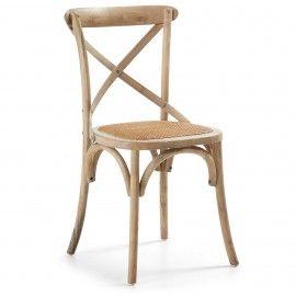 Silea - Hout - Naturel - Rottan - Laforma-Kave Stoere retro stoel! Ga terug in de tijd met deze houten stoel en rottan zitting. De stoel is van iepen hout en is afgewerkt met een 'kruis' om de rug nog beter te ondersteunen.