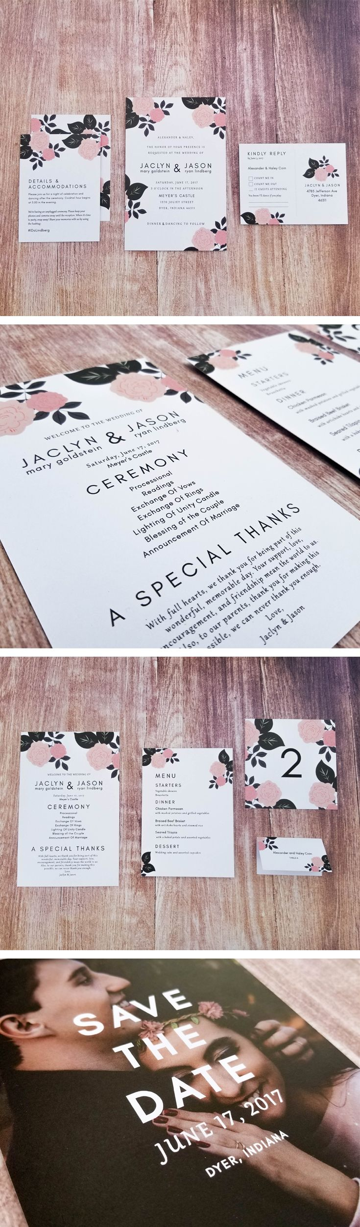 Blooming Blush Wedding Invitation Suite by The Stationery Shoppe