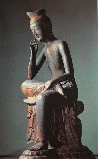 "Kartari mudra, ""gesture of discord"". 弥勒菩薩 (Miroku Bosatsu) Maitreya"