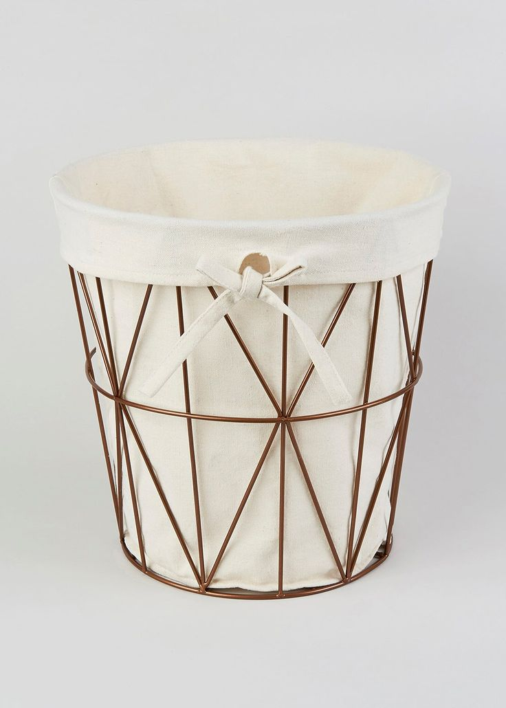 Bathroom copper effect frame bin matalan 6 home for Gold bathroom bin