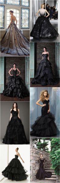 wunderschöne schwarze Brautkleider #hochzeitskleidung #standesamtkleid
