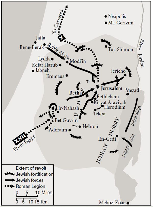 Extent of the Bar Kokhba revolt in its first year, 132 AD. After Y. Aharoni, Carta's Atlas of the Bible, Heb. ed., 1966.