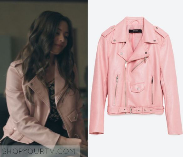 """Ginger Lopez (Caitlin Mitchell-Markovitch) wears this pink leather moto biker jacket in this episode of Riverdale, """"A Touch of Evil"""".  It is the Zara Faux Leather Jacket in Pink"""