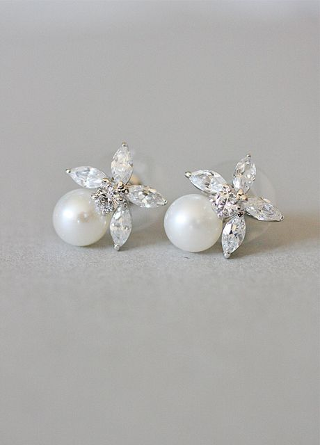 Vintage Inspired, 20s, The Great Gatsby, Art Deco, Diamante, Flower, Pearl, Earrings - Best Selling!
