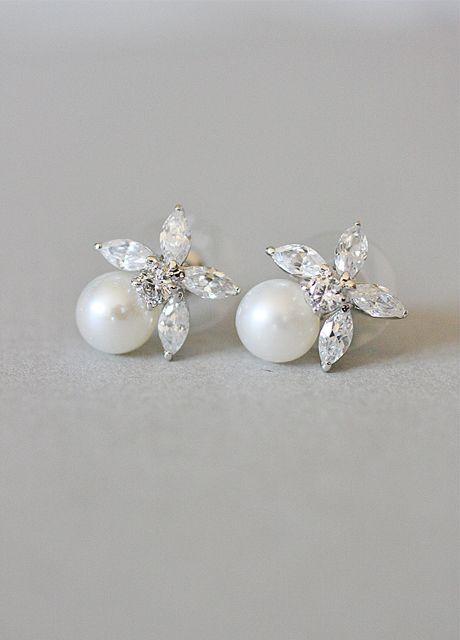 Vintage Inspired, 20s, The Great Gatsby, Art Deco, Diamante, Flower, Pearl, Earrings - Best Selling!