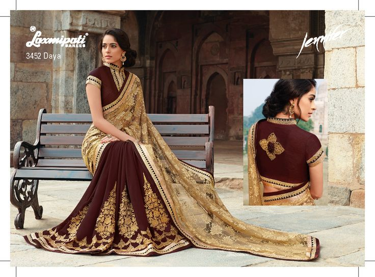 Stunning and feminine!!! This designer saree should find space in every woman's wardrobe. This half-half saree is crafted with an amazing color combination - golden+brown , antique jari work on patli  and beautiful jacquard net pallu. The antique jari sequence border patti will make a further remakable design.