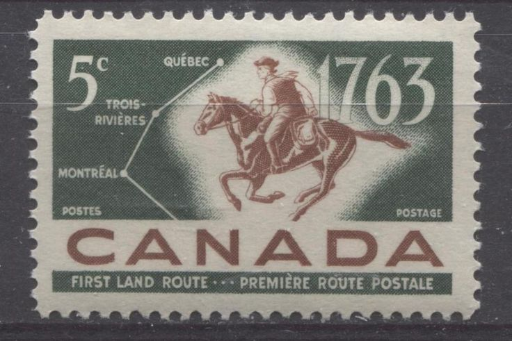 Canada #413 5c Green And Red Brown 1963 Postrider And Map VF 75/80 NH