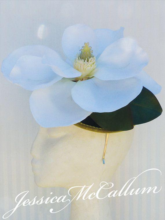 White silk & dark green velvet floral fascinator, headpiece for a bride, wedding or races