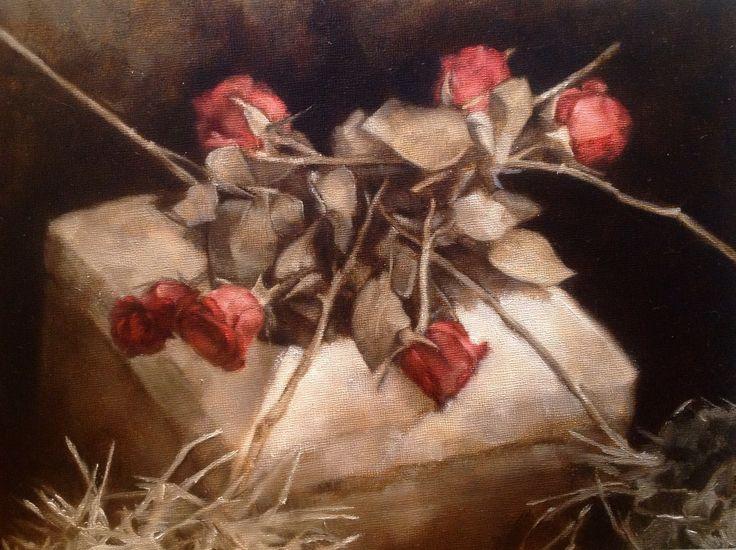 "'Funeral Roses' by Anne Herrero | $250 | 12""w x 9""h | Original Art | http://www.arttwo50.com/buy/art/funeral-roses"