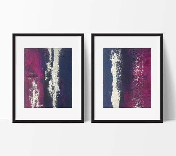 Title Electromagnetic abstract diptych. FREE FAST SHIPPING WORLDWIDE!  (Can be customised to larger sizes, see below custom art description)  Two (2) high quality 8x10 original art pieces on canvas panel. Stunning modern original abstract artwork - deep Violet & Prussian blue with metallic silver accents. Uniquely gorgeous sandy texture with high gloss varnish - utterly gleaming. Frame not included. Photos may not be exactly to scale. Canvas panels are 3mm thick.  We only use finest artis...