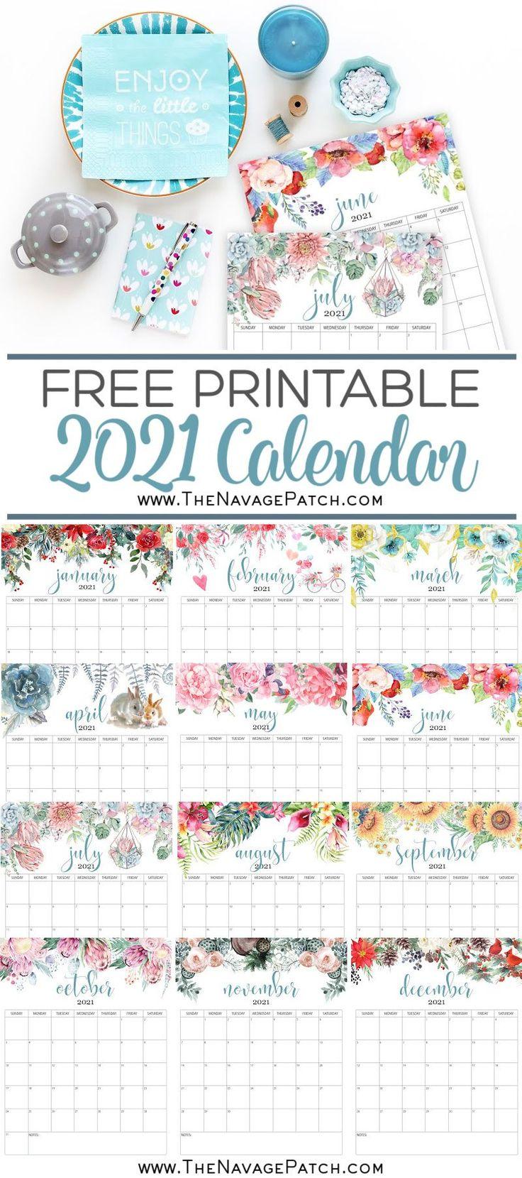 Free Printable Calendar 2021 in 2020 Planner printables