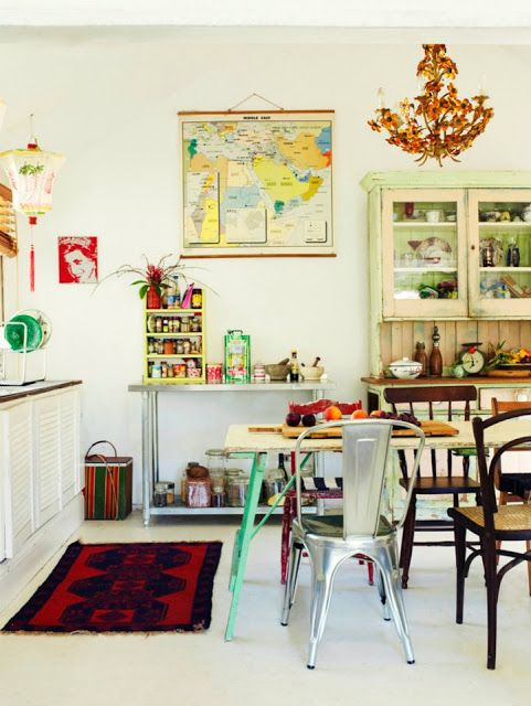 map, chandelier, china hutch (welsh dresser) chinese lantern, princess diana