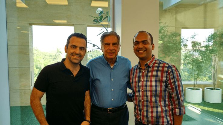 Ratan Tata, chairman Emeritus of Tata Sons, meets Hugo Barra, Vice President of Xiaomi Global, and Manu Jain, Head of Mi India Operations.