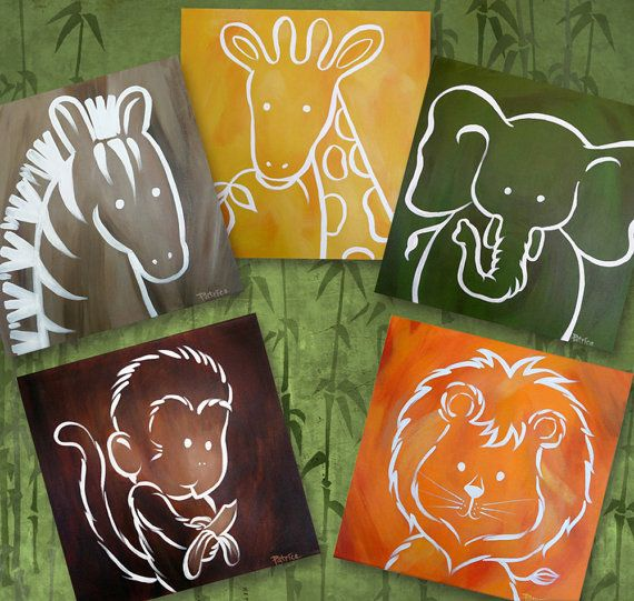 Digital Baby Kids Jungle Zoo Safari Animals - Instant Download - Elephant Lion Zebra Giraffe Monkey - Nursery - Download Imediately