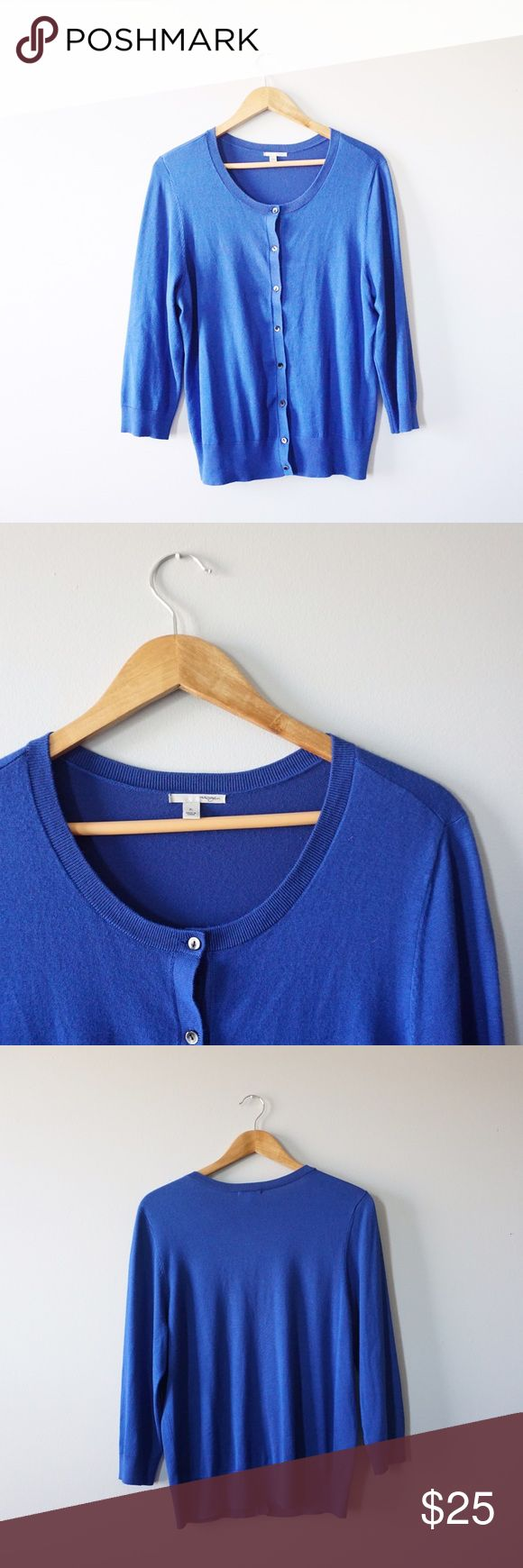 Halogen Royal Blue Cardigan Halogen from Nordstrom royal blue cardigan size XL. Crewneck and 3/4 sleeves. 25 inches long, 19 inch bust all laying flat. 82% viscose 18% nylon. Super soft and in excellent condition. Halogen Sweaters Cardigans