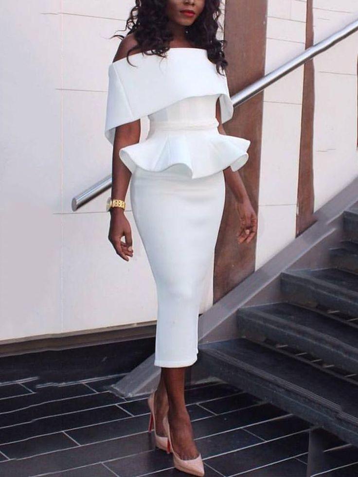 Women Slash Neck Fold-over Shoulder Peplum Bodycon Dress