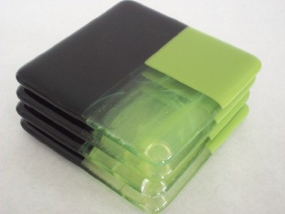 Lime Green and Black Fused Glass Coasters - Set of 4. $24.00, via Etsy.