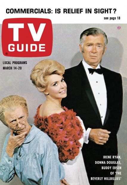 "TV Guide, March 14, 1964 - Irene Ryan, Donna Douglas, and Buddy Ebsen of ""The Beverly Hillbillies"""