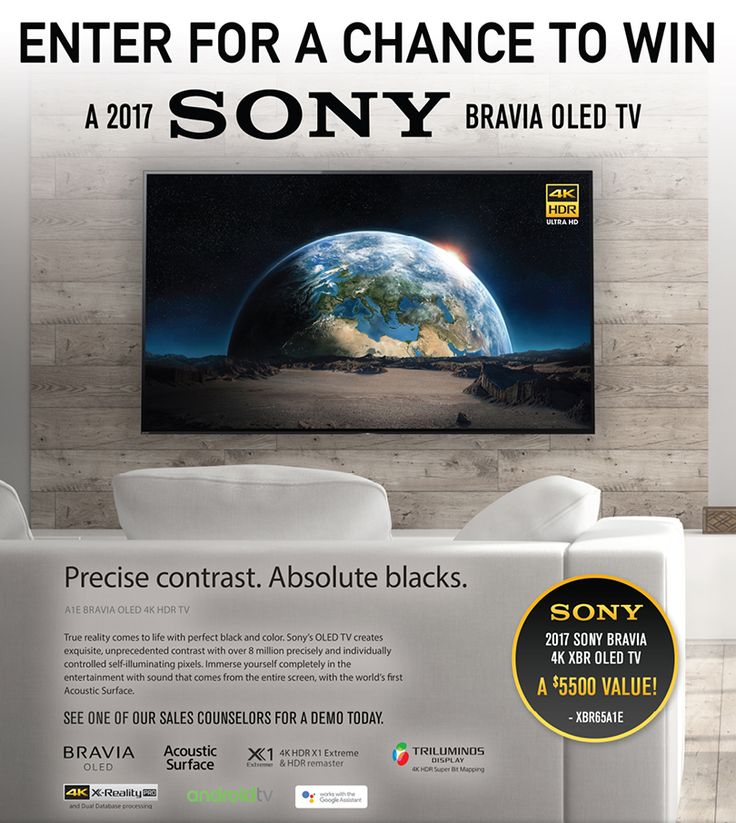 """Enter for a chance to win one (1) SONY Bravia 4k XBR OLED TV – Model XBR65A1E. Approximate Retail Value (""""ARV""""): $5500.00."""