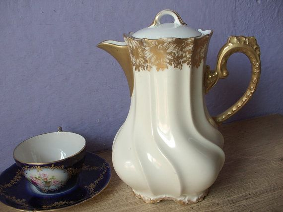 Antique 1890's LR & L Limoges France chocolate pot, French china teapot, Antique teapot, Porcelain teapot, Victorian teapot, Wedding gift
