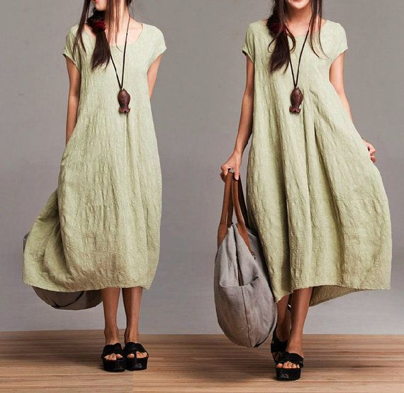 Comfort Linen Maxi Dress / Unique Summer green round neck short-sleeved loose dress