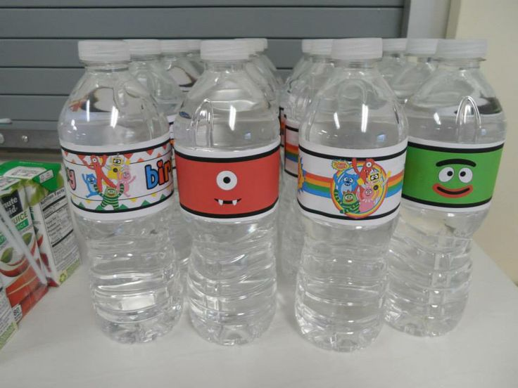 Yo gabba gabba water bottle labels by the quilted monster we just printed these on sticker printer paper from staples and put them right over the water