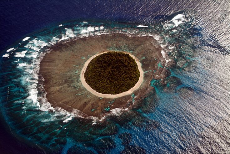 Aerial photograph of one of the islands in the Kingdom of Tonga in the South Pacific.