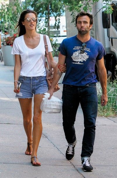 Alessandra Ambrosio Out with her husband picking up some take away