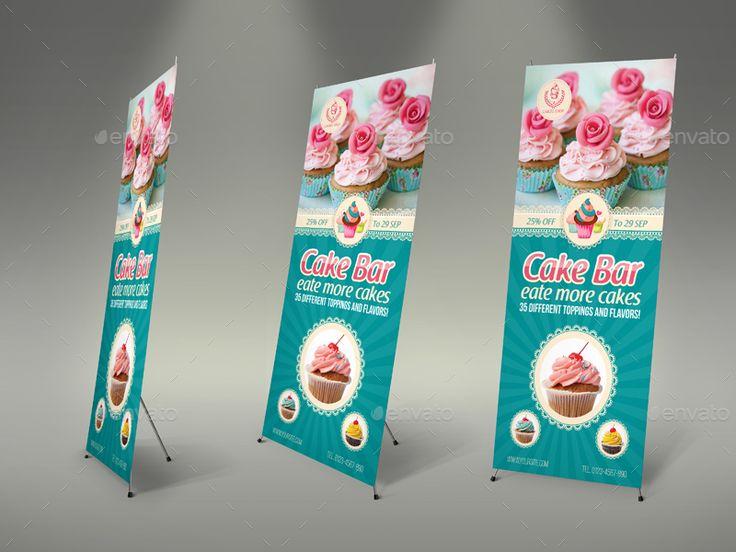 Cake Shop Banner Roll Up Signage Template Vol.4 #Banner, #Shop, #Cake, #Roll