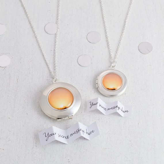 Romantic personalised silver Sunset Locket