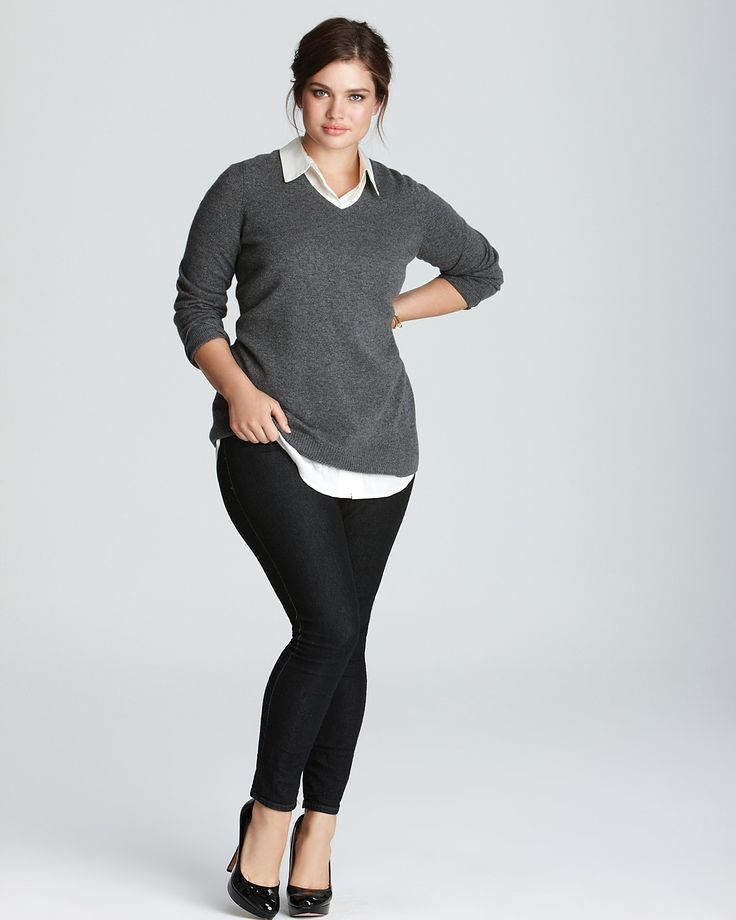 C by Bloomingdale's Plus Cashmere V Neck Tunic. Would look great with a chunky necklace.