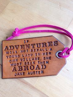 Leather Travel Quote Luggage or Bag Tag Custom Quote of Your Choice or this Jane…