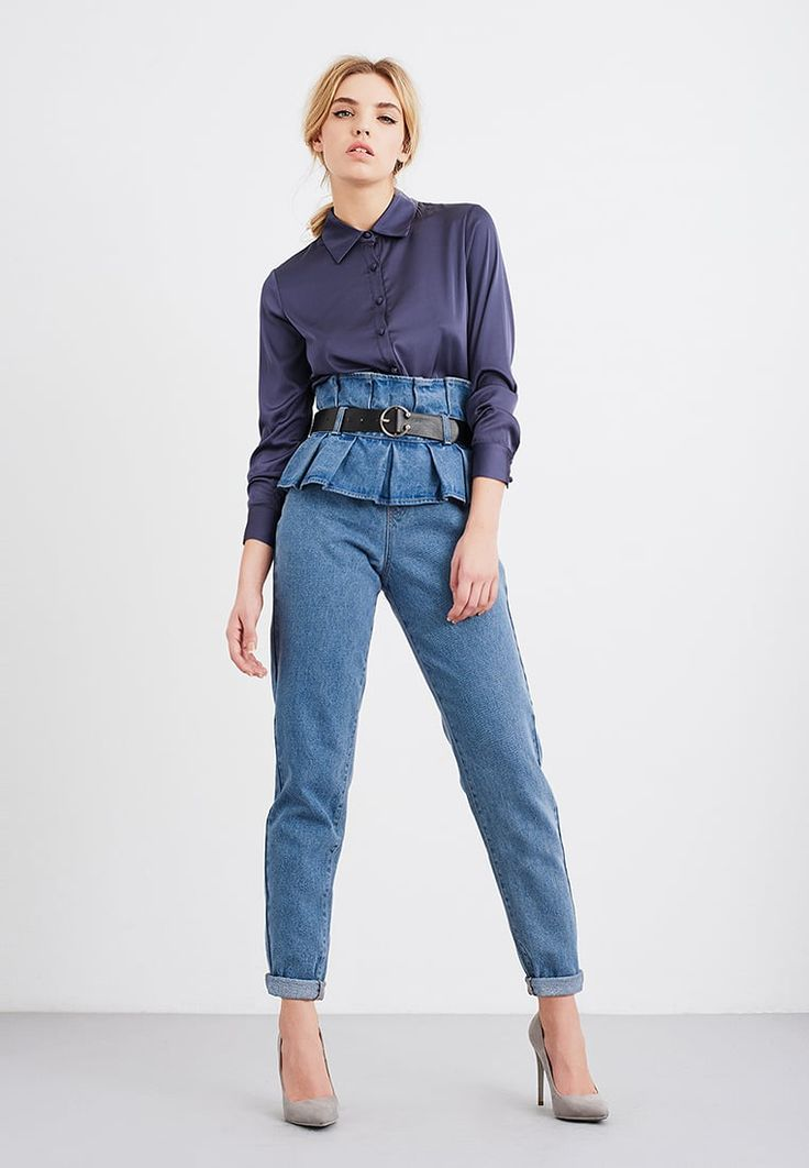 Lost Ink MOM WITH DOUBLE PAPERBAG & BELT - Relaxed fit jeans - light denim - Zalando.nl