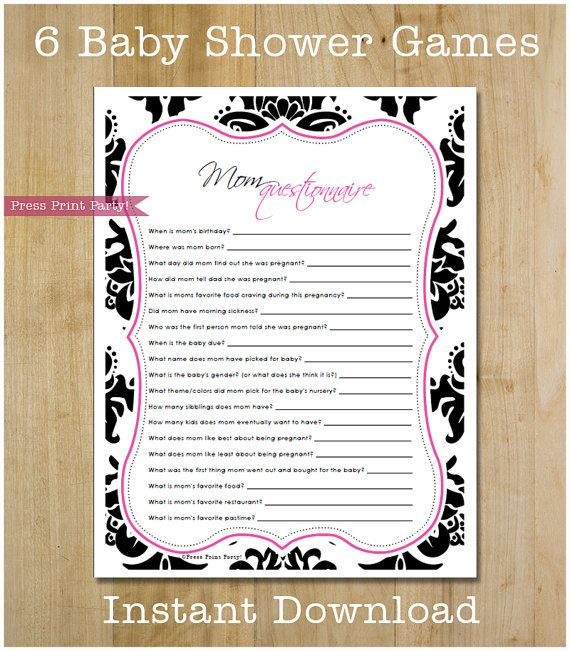 This complete baby shower game pack comes with 6 of the most popular baby shower games on an attractive black and hot pink damask stationary.  The set even includes a blank stationary page for you to print your own games on!  Baby Shower Game Pack - Black and Hot Pink Damask Printables - INSTANT DOWNLOAD pdf