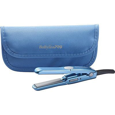 """BaBylissPRO Mini Straightening Iron with Travel Pouch features nano titanium straightening power in an easy to travel with mini straightening iron. Includes travel pouch. The 1/2"""" titanium/ceramic plates make getting to the scalp easy. Quick styling with 430 degrees F heat. Just 6"""" long, dual voltage and with an accompanying thermal pouch make it easy to travel anywhere."""