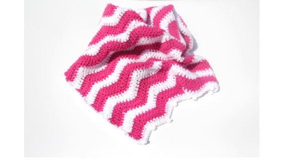 Hot Pink Chevron Baby Blanket Chevron by CraftCreationsbyRose