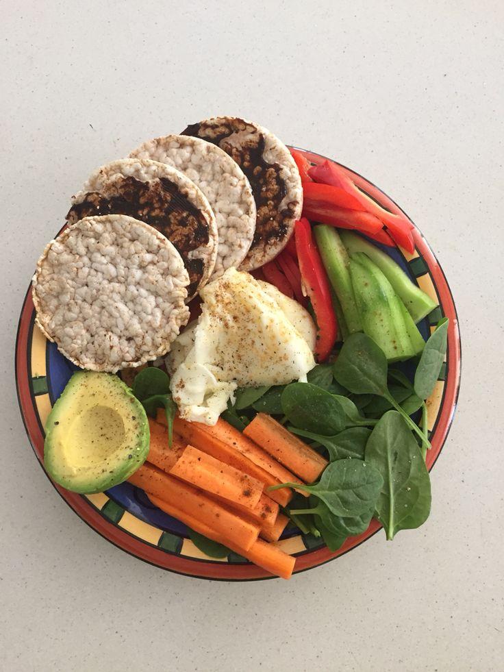Egg white, veggies, rice crackers with Vegemite