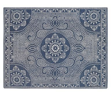 Shibori Dot Printed Indoor/Outdoor Rug - Blue Jay #potterybarn