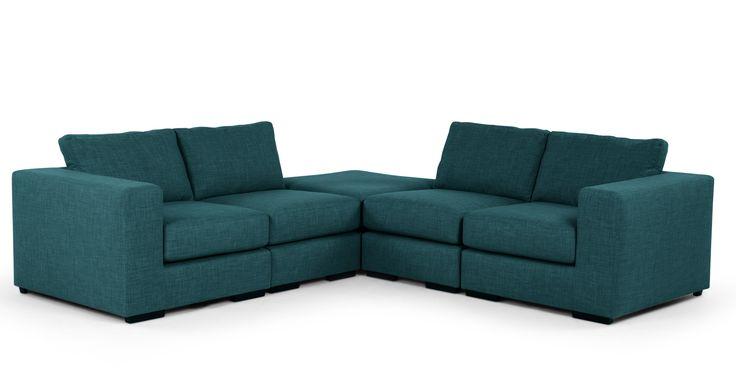 Mortimer Modular Corner Sofa Group, Shadow Teal | made.com