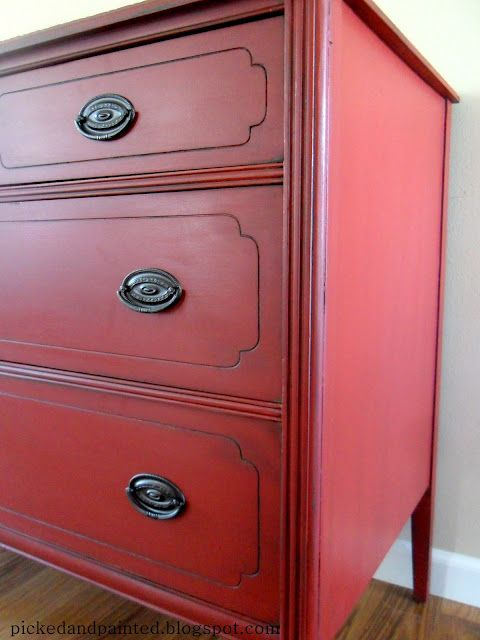 Picked & Painted: Custom Red Buffet   A custom red using Gumball Red (by Olympic) with a chocolate brown paint, then Kona stain as a glaze. Used homemade chalk paint. The new recipe is 1 c. paint to 1/4 c. baking soda. I would say use UP TO 1/2 c. soda but start with only a quarter cup.  Lightly distressed and sealed with wax.  Kept the original pulls but sprayed then with Oil Rubbed Bronze spray paint.