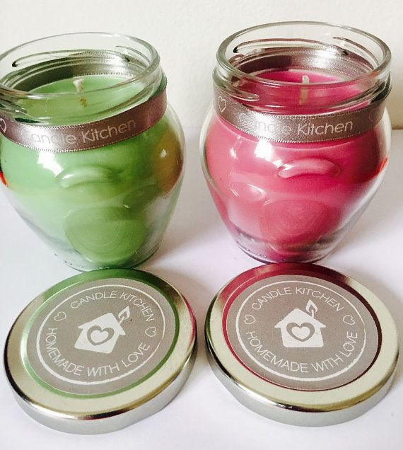 Homemade Set Of 2 Sweet Shop Scented 212ml Glass Jar Candles in Jelly Bean and Parma Violet Fragrances. Natural Soy Wax. Paraben free.