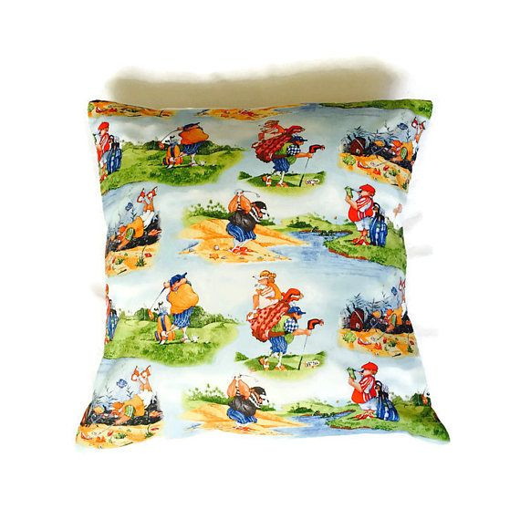 Golf Cartoon Pillow Ivory Cushion Cartoon Fabric Golf Gift