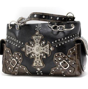 Black Super Studded and Double Buckle Accent Cross Handbag Purse