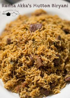 Recipe for Tamilnadu style mutton biryani made in the pressure cooker. Easy recipe with biryani masala made from scratch. With step by step pictures.