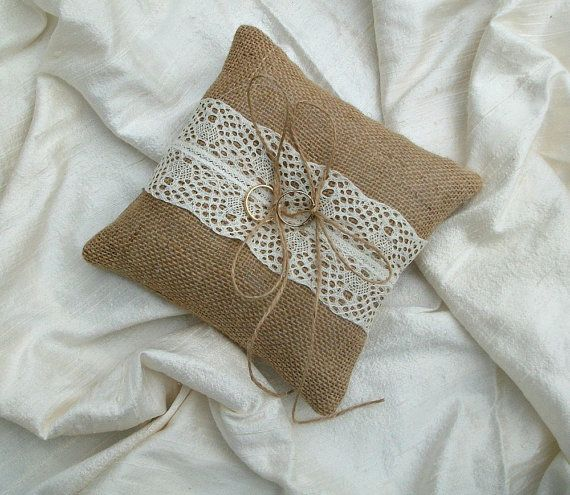 Hessian Ring Cushion Burlap ring bearer pillow with cream lace wedding pillow via Etsy