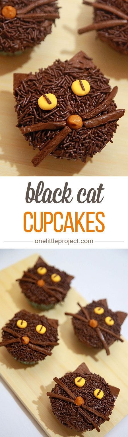 These non-spooky black cat cupcakes make a great Halloween treat! They're fun, cute and easy enough that anyone can make them!
