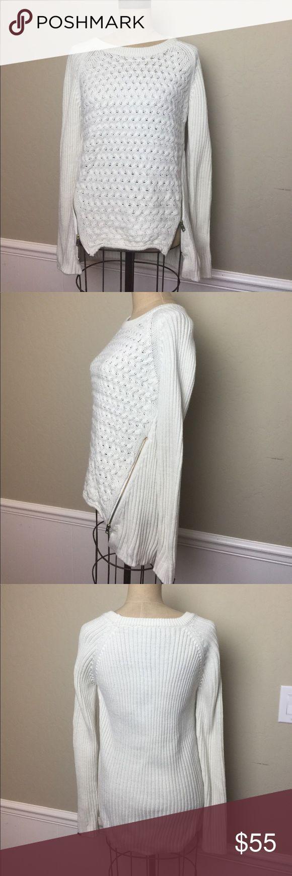 Dex multi pattern knit zip side sweater Fabulous multi patterned knit pull over sweater. Zip side detail. High low hem line. Long sleeves. Fabric tag is missing, but I believe it is an acrylic blend dex Sweaters
