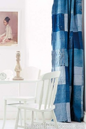 Gorgeous blue patchwork curtain